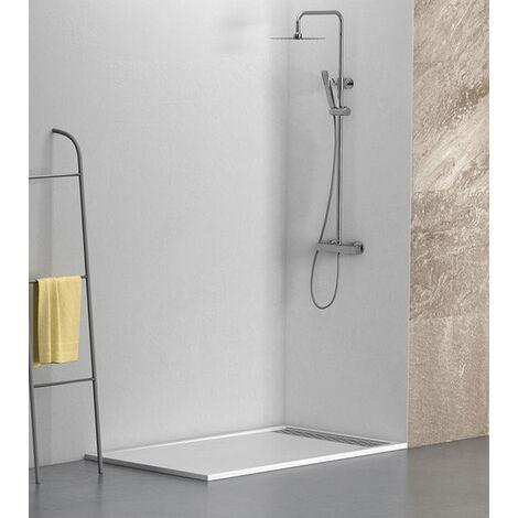 KIT Plato de ducha de resina antidezlizante BLANCO + Mampara frontal con cristal de seguirdad  4mm