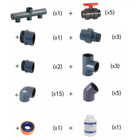Kit plomberie Ø 50 mm pour local technique de piscine 10 x 5 m jusqu'à 80 m3