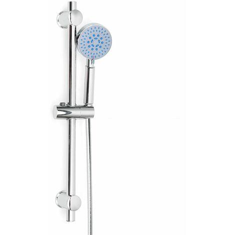 Kit Pommeau Colonne de Douche Douchette Barre Support Ajustable Chrome Salle de bain en Acier inox