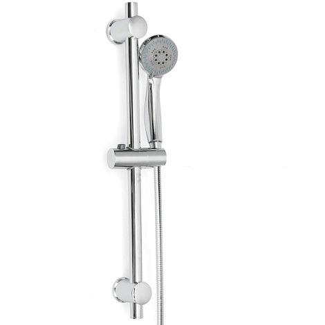 Kit Pommeau Colonne de Douche Douchette Barre Support Ajustable Chrome Salle de bain en Acier inox C