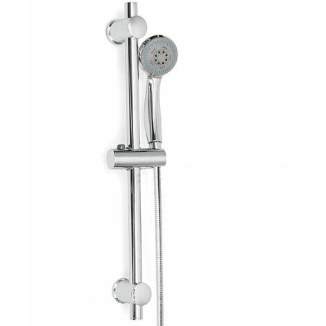 Kit Pommeau Colonne de Douche Douchette Barre Support Ajustable Chrome Salle de bain en Acier inox C LAVENTE