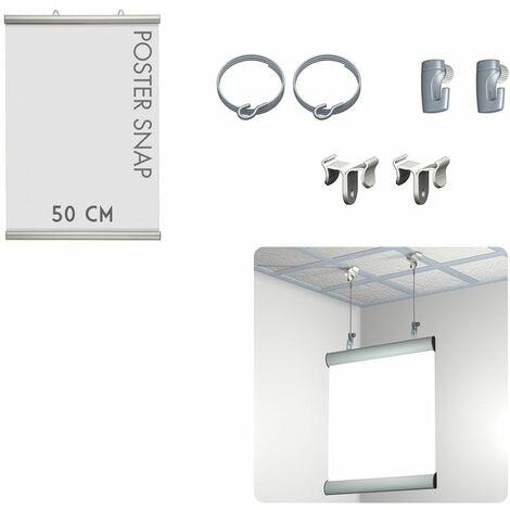 Kit Poster Snap 50 cm + Ceiling clamper - Système de suspension d'affiche pour faux plafond - 2 câbles acier crochet