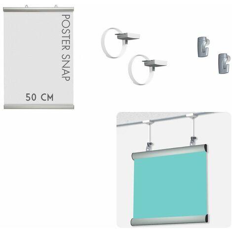 Kit Poster Snap 50 cm + Ceiling hanger - Système de suspension d'affiche pour faux plafond
