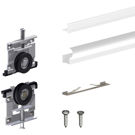 Kit pour 1 porte de placard supplémentaire SLID'UP 220 18 mm - blanc - Blanc