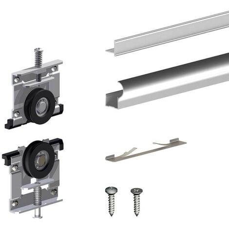 Kit pour 1 porte de placard supplémentaire SLID'UP 230 19 mm - argent - Argent