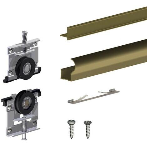 Kit pour 1 porte de placard supplémentaire SLID'UP 230 19 mm - bronze - Bronze