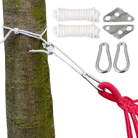 Kit pour Accrocher votre Hamac XXL | Corde 6 mm | Poids max. supporté 190 Kg | Kit complete incl Mousquetons et de Régulateur de Longueur