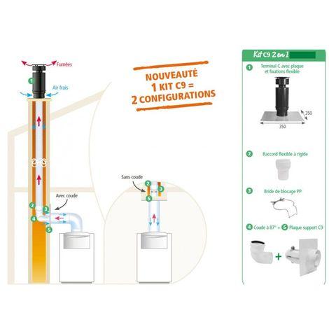 Kit pour chaudire à condensation Gaz et fioul, C9 2 en 1 (mural et plafond) - ISOTIP joncoux 796201 -