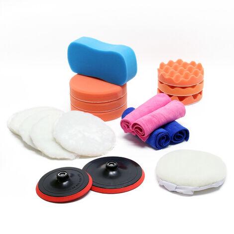 Kit pour Machine à polir 19 pcs. Éponges de polissage 150mm & 180 mm Accessoire pour Polisseuse