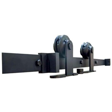 Kit pour porte coulissante en applique bois - acier noir