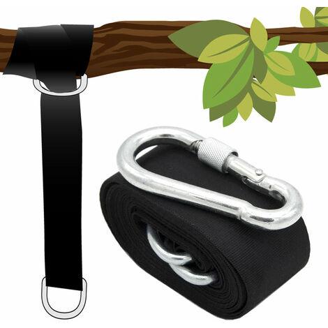 Kit pour Suspendre une balancelle 150kg à un arbre 1x Sangle 300x5cm Corde Noir