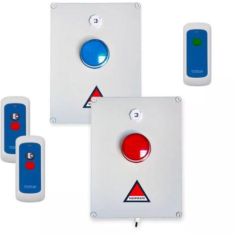 Kit 'PPMS 3' double alerte confinement / attentat-intrusion & incendie - Modulable radio sans-fil longue distance