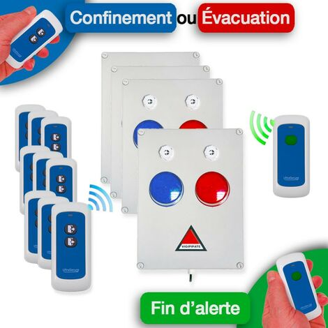 Kit 'PPMS 4' double alerte confinement / incendie - Modulable radio sans-fil longue distance