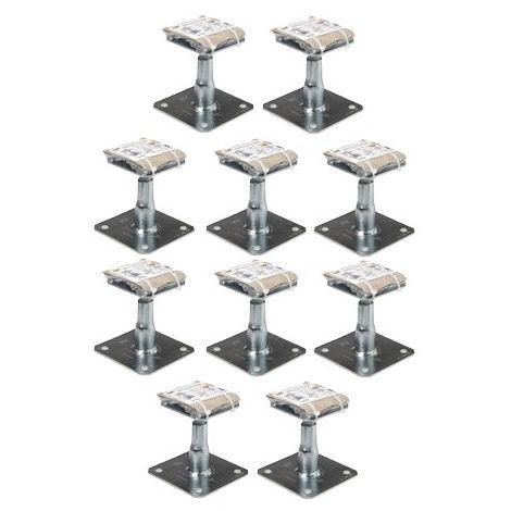 Kit Prêt à fixer Pied de poteau réglable hauteur 100 à 150 mm APB100/150 SIMPSON Lot de 10