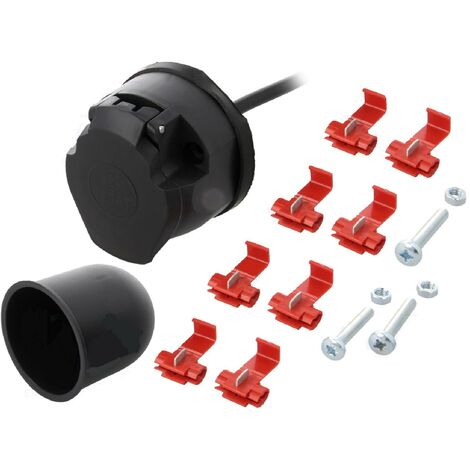 Kit prise remorque femelle - 7PIN - 12VDC - Cable 2m - Nickele ADNAuto