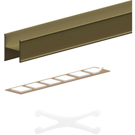 Kit profil en H pour porte 16 mm - L = 1800 mm - bronze