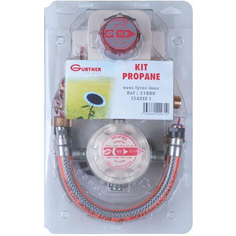 Kit propane classe 1 pour cuisinière - 2 lyres inox 35cm + vanne
