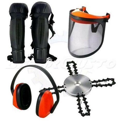 Kit protezione decespugliatore: Gambali + Testina TERMINATOR 4 + Visiera + Cuffie