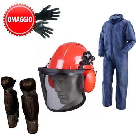 Kit protezione decespugliatore PRO tuta TAGLIA L casco visiera cuffie gambali parastinchi