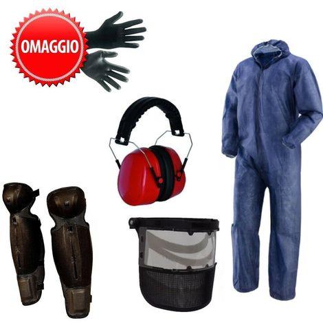 Kit protezione decespugliatore tuta PLP visiera protezione viso gambali e cuffie