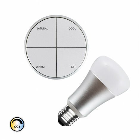 Kit Pulsador Wireless Plata CCT Seleccionable + Bombilla LED 8W