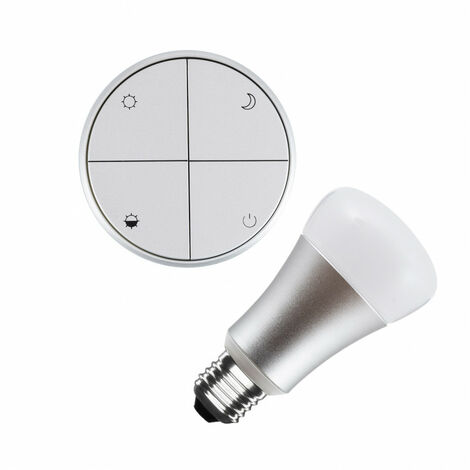 Kit Pulsador Wireless Plata Regulable + Bombilla LED 8W