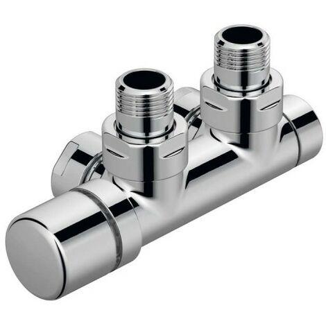 Kit Q Robinetterie thermostatisable en H coude tête à gauche monotube / bitube chromé - ACOVA 991608