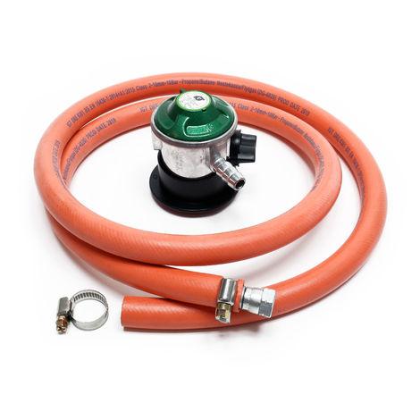 Kit Raccordement de gaz Tuyau 1,5 m Pressostat 30 mbar Pression constante Bouteille de gaz espagnole