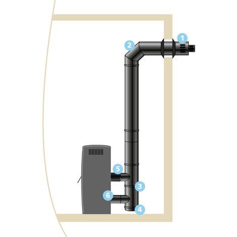 Kit raccordement ISOTIP étanche horizontal réglable pour buse Ø 80 mm- Noir - Øint 100 - Øext 150 - Pour poêle pellets - 853802