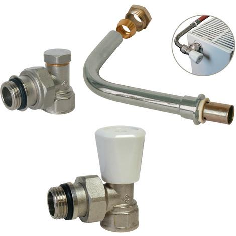 KIT raccordement radiateur avec robinet manuel - PER à sertir Ø10x12