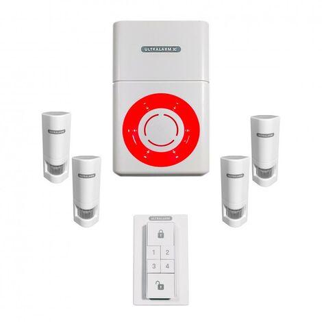 Kit renforcé détection de mouvement - alarme 3G sirène à piles GSM autonome extérieure 100% sans-fil (ULTRALARM 3G)