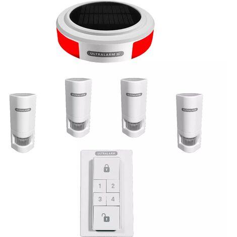 Kit renforcé détection de mouvement - alarme 3G sirène solaire GSM autonome extérieure 100% sans-fil (ULTRALARM 3G)