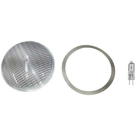 Kit reparación recambio piscina. Lente transparente + Junta de silicona D.178 mm. + bombilla halógena 90w/120V. Para foco plano