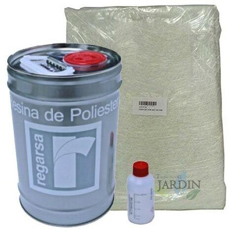 Kit Resina Poliester 5kg + catalizador + Manta Mat300 5m2