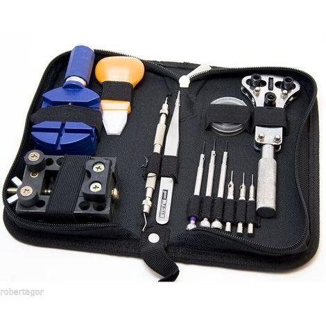 Kit riparazione orologi professionale apricasse maglie con borsello 13 pz pezzi