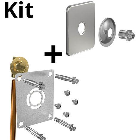 Kit ROBIFIX cuivre Ø12 - M 3/8 à souder + cache inox mono