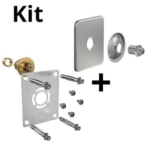 Kit ROBIFIX PER Ø16 - droit F 1/2 glissement+cache inox mono