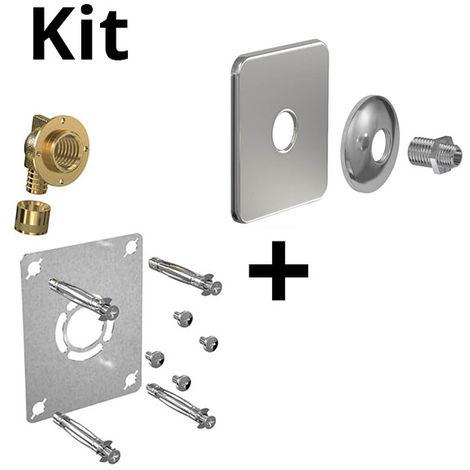 Kit ROBIFIX PER Ø16 - M 3/8 glissement+cache inox mono
