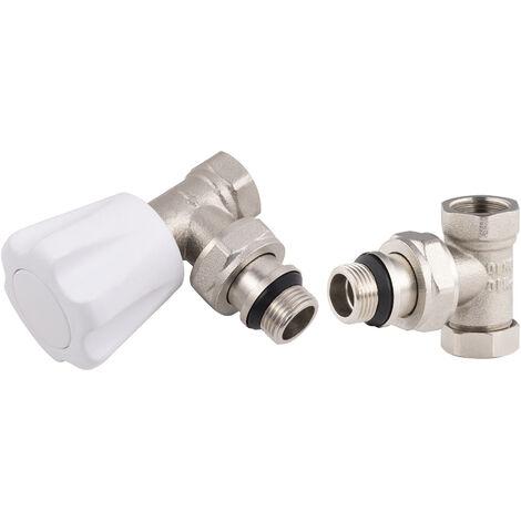 kit robinet de radiateur manuel équerre 15x21 + coude de réglage 15x21