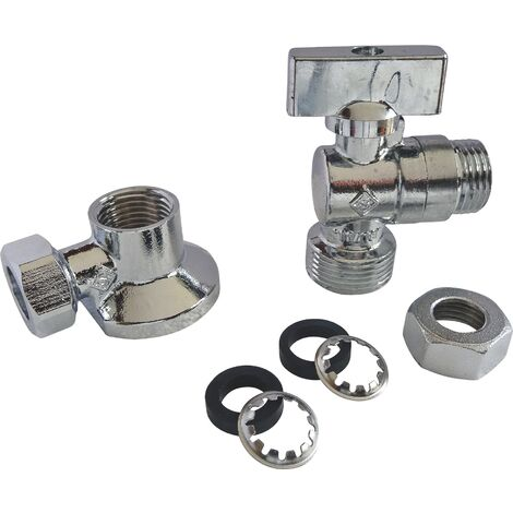Kit robinet machine à laver 1/4 tour avec applique et rac à viss pr cuiv12 ou 14