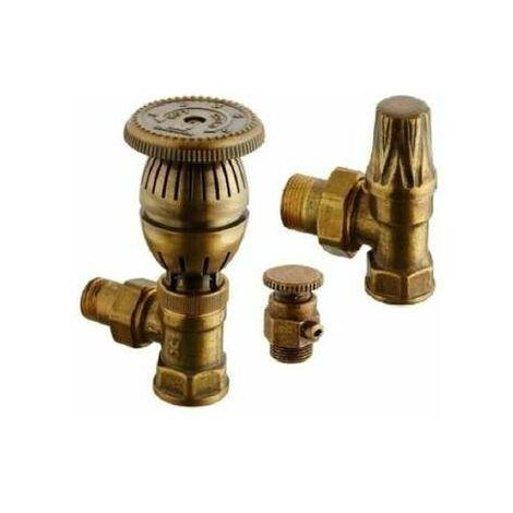Kit robinet thermostatique avec coude de réglage 15x21 et purgeur