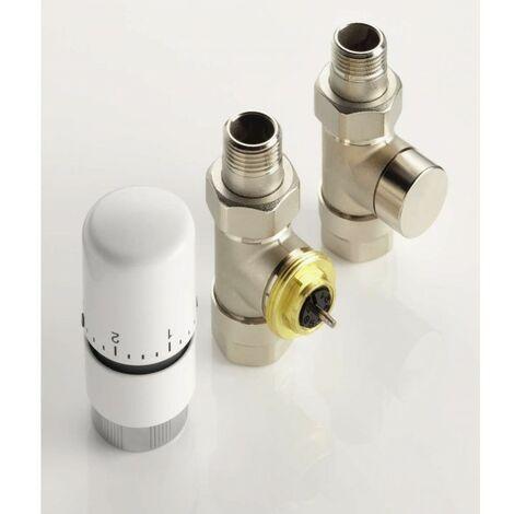 Kit robinetterie manuelle droit tête thermostatique design nickelé - ACOVA 841068