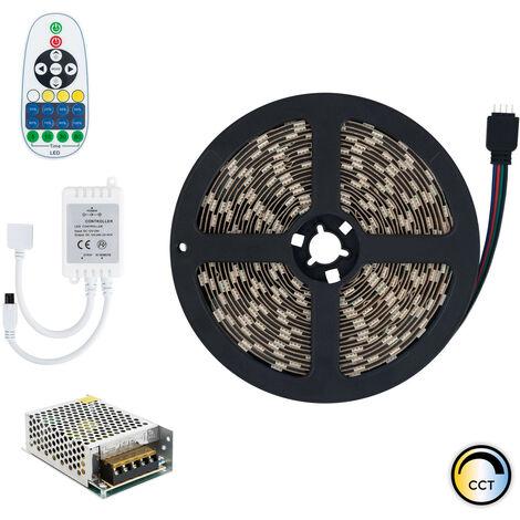 Kit Ruban LED 12V DC 60LED/m 5m CCT Sélectionnable IP65 avec Bloc d'Alimentation et Contrôleur Sélectionnable (Chaud-Neutre-Froid) - Sélectionnable (Chaud-Neutre-Froid)