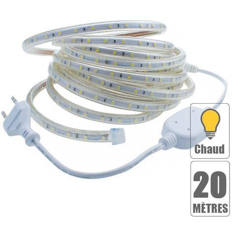 Kit ruban led 220V 20 mètres Blanc chaud étanche IP67
