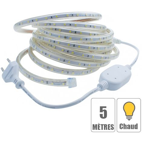 Kit ruban led 220V 5 mètres Blanc chaud étanche IP67
