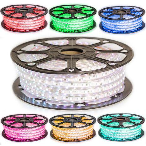 Kit Ruban LED Professionnel 5050 60 LED/m de 25 ou 50 mètres RGB étanche (IP68) avec contrôleur 220V