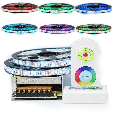 Kit ruban Professionnel 5050 - 60 LED/m - 10 mètres (2x5m) RGB anti-éclaboussure (IP65) avec contrôleur radio et transformateur   Longueur: 10 mètres(2x5m)