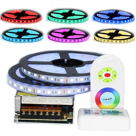 Kit ruban Professionnel 5050 - 60 LED/m - 10 mètres (2x5m) RGB étanche (IP67) avec contrôleur radio et transformateur | Longueur: 10 mètres(2x5m) - Controleur- telecommande: Inclus - Transformateur: Alimentation Métal box 10A
