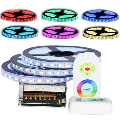 Kit ruban Professionnel 5050 - 60 LED/m - 15 mètres ( 3 X 5 mètres ) RGB étanche (IP67) avec contrôleur radio et transformateur | Longueur: 15 mètres (3x5m)