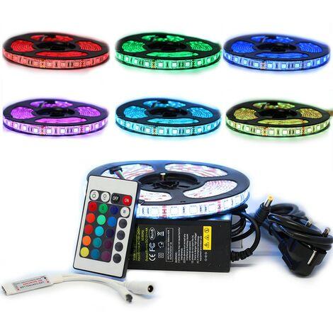 Kit ruban Professionnel 5050 - 60 LED/m - 5 mètres RGB anti-éclaboussure (IP65) avec contrôleur RF et transformateur